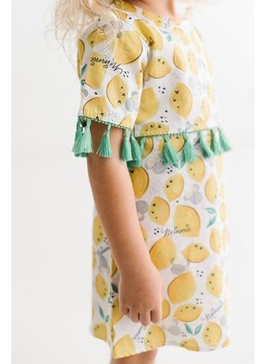 Minnie Mouse Lisanslı Çocuk Poplin Elbise 17469 Sarı
